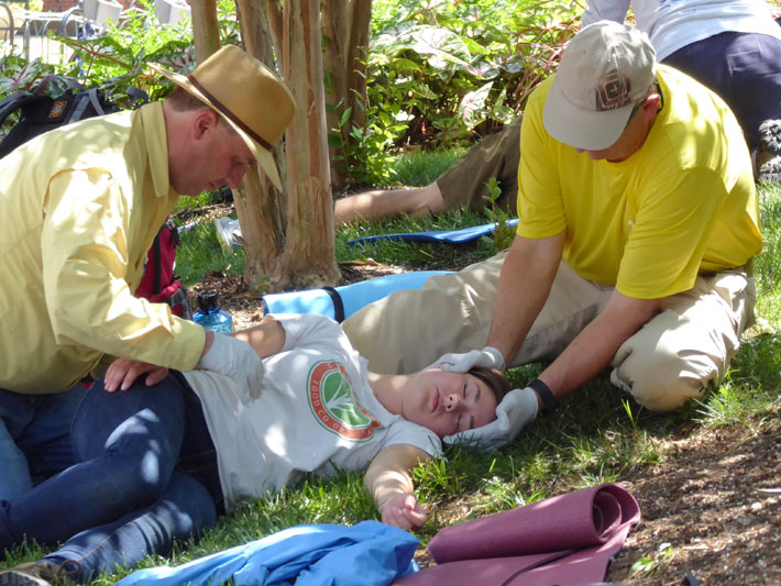 Stabilizing the spine and performing a preliminary physical exam on an injured girl fallen beneath a tree on a forest floor